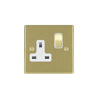 Hamilton Litestat Hartland Satin Brass 1g 13A DP Switched Socket SB/WH