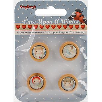 ScrapBerry's Once Upon A Winter Wooden Frame Buttons 4/Pkg-Cameos 3409120