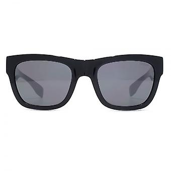 Guess Triangle Logo Square Sunglasses In Shiny Black