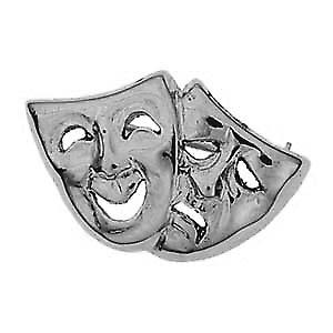 Silver 22x33mm Comedy and Tragedy Brooch