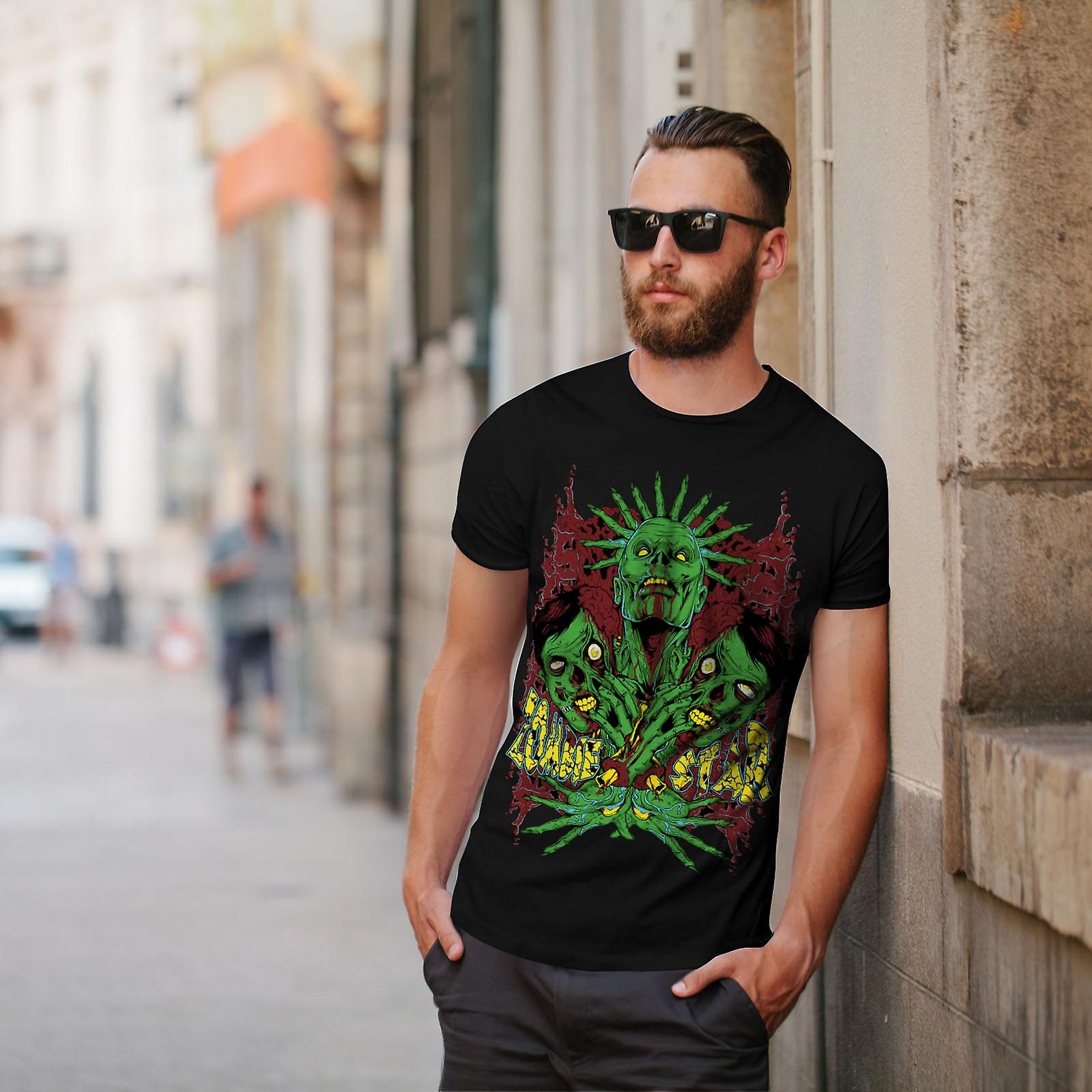 Star Monster Green Zombie Men BlackT-shirt | Wellcoda