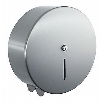 Luxury Brushed Steel Maxi Jumbo Toilet Roll Dispenser.