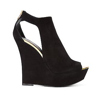 Balmain women's S7CSS150104C176 Black Suede wedge heel