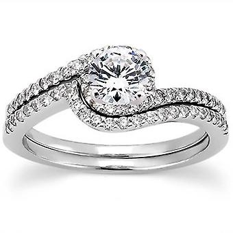 3/4 CT Diamond Engagement Ring Set 14K White Gold