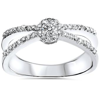 .40CT diamante Halo Split caña pequeña promesa anillo 10K oro blanco