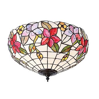 Interiors 1900 70717 Country Border 2 Light Tiffany Flush Ceiling Fitt