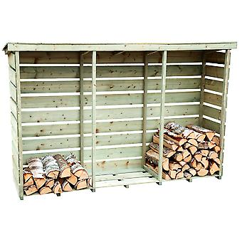 Charles Bentley Nordic Spruce Wooden 3 Log Store Firewood Storage Heavy Duty