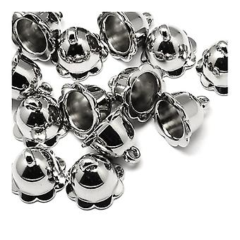 Packet 10 x Platinum Acrylic Bell-Shape End Caps 22 x 24mm Y03240