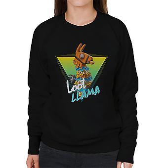 Fortnite gul Loot Llama porträtt kvinnors tröja