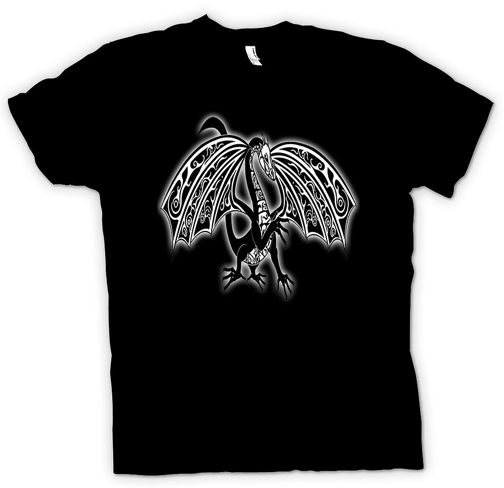 Mens T-shirt-Dragon Tribal Tattoo