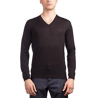 Prada Herren Seide Baumwolle v-Neck Pullover schwarz
