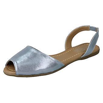 Ladies Spot On Flat Slingback Mule Sandals F00152 - Blue Metallic Foil - UK Size 8 - EU Size 41 - US Size 10