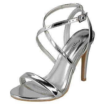 Dames Anne Michelle hoge hak metalen sandalen F10836 - zilver Metallic folie - UK maat 4 - EU grootte 37 - US maat 6