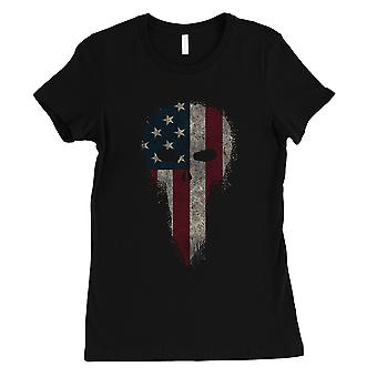 Vintage American Skull Womens Black T-Shirt For 4th of July Gifts