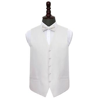 Ivory Greek Key Wedding Waistcoat & Bow Tie Set