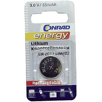 Conrad energy CR2032 Button cell (rechargeable) ML 2032 Lithium 65 mAh 3 V 1 pc(s)