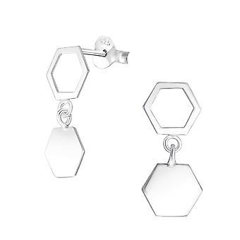 Hanging Hexagon - 925 Sterling Silver Plain Ear Studs