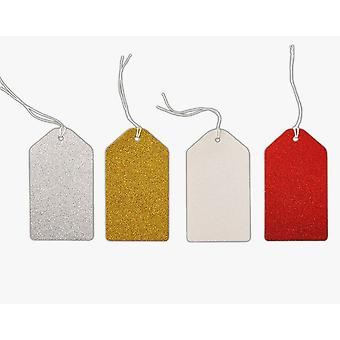 24 Large Red, Gold, Silver & White Glittered Gift Tags | Christmas Gift Wrap