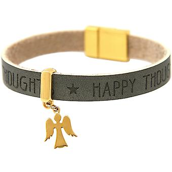 Gemshine - damer - armband - skydd ängel - guld pläterad - önskemål - antracit - grå - magnetlås