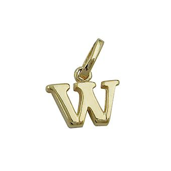 Letter pendants gold 375 followers, letter W, 9 KT GOLD