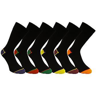 12 Pair Pack of Contrasting Design Luxury Fresh Feel Polycotton Comfort Socks