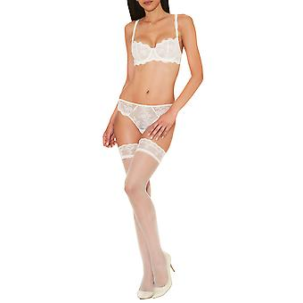 Aubade DA98 Women's A L'Amour Nacre Off-White Lace Hold Up Stockings