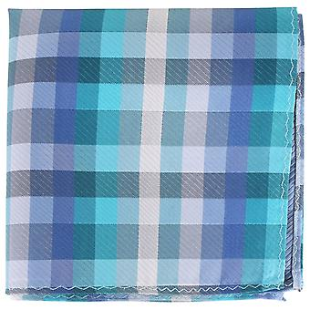Knightsbridge Neckwear Checked Silk Pocket Square - Blue/Silver/Turquoise