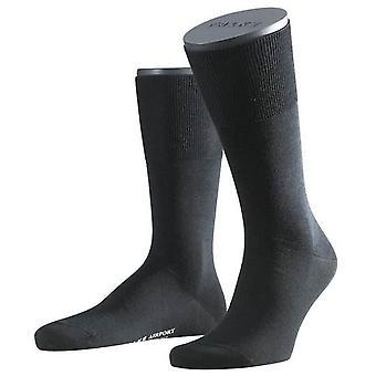 Falke Wolle / Baumwolle Flughafen Socken - Schwarz