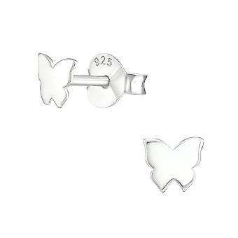 Butterfly - 925 Sterling Silver Plain Ear Studs - W19654x
