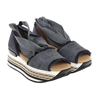 Hogan women high heel sandals in Denim Canvas