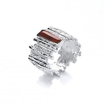 Cavendish French Silver and Red Jasper Steps Ring