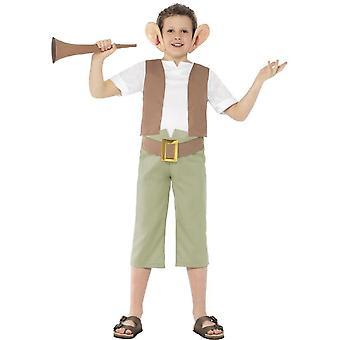 Roald Dahl BFG traje, color verde, con tapa, pantalones, venda del oído y cuerno