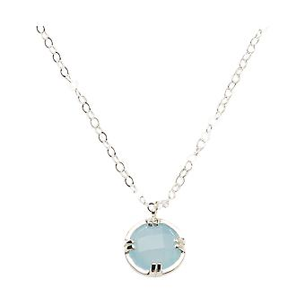 Gemshine women's necklace. Blue Chalcedonpendant Pendant. 925 Silver or gold-plated