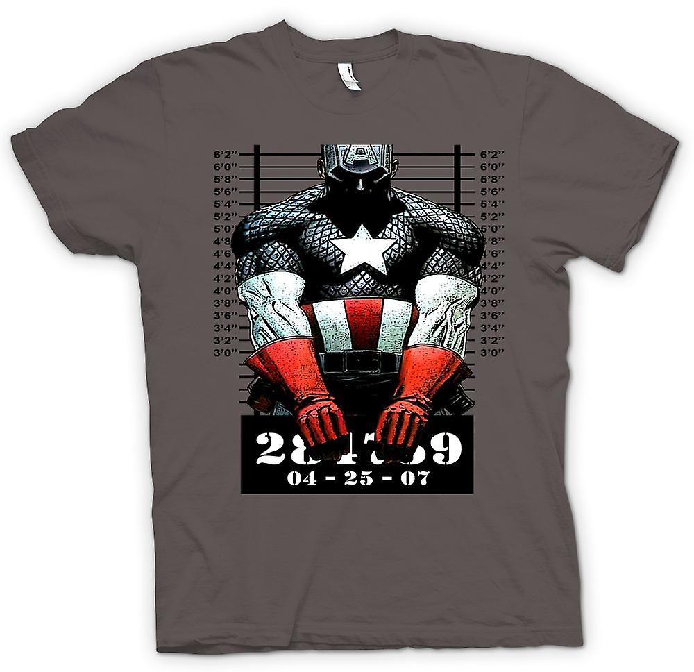 Mens T-shirt - Captain America - Cartoon - Mug Shot