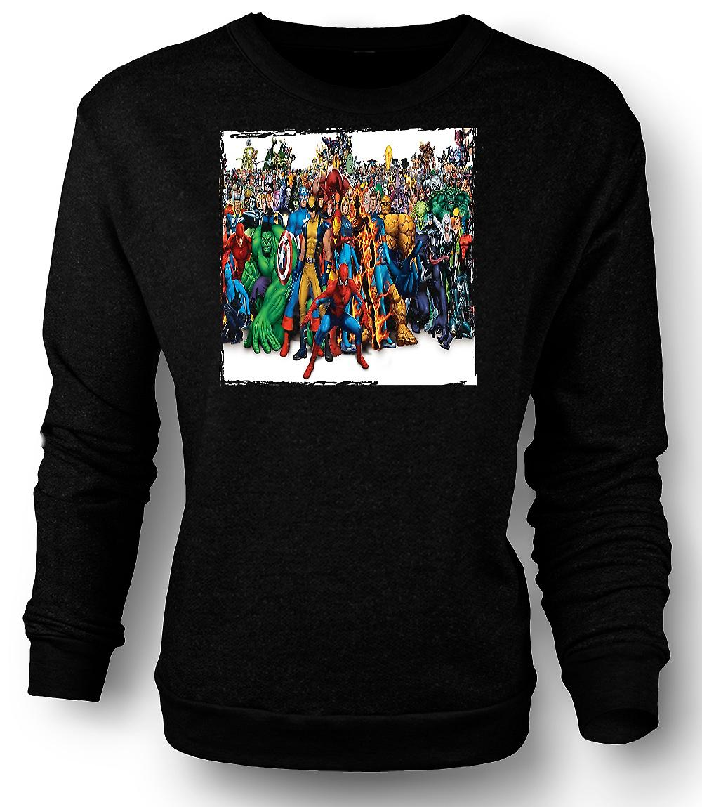 Mens Sweatshirt Marvel Comic Hero Group - Portrait