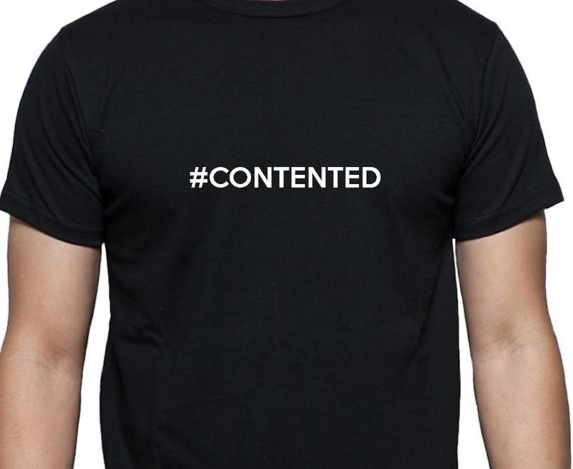 #Contented Hashag Contented Black Hand Printed T shirt