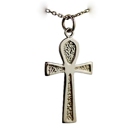 9ct Gold 28x16mm plain Ankh or Peace Cross with a cable Chain 16 inches Only Suitable for Children