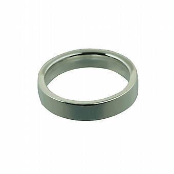 Silver 4mm plain flat Court Wedding Ring Size M