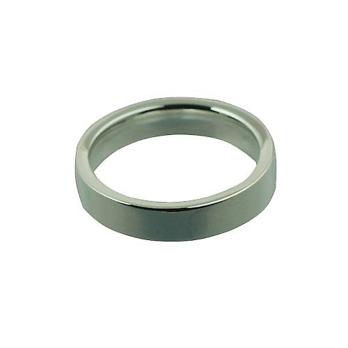 Silver 4mm plain Flat Court wedding ring