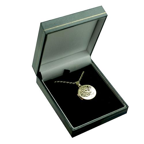9ct Gold 20mm round flat hand engraved Locket with a belcher Chain 16 inches Only Suitable for Children