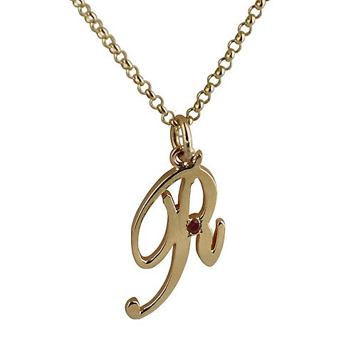 9ct Gold 26x14mm plain Ruby set Palace script Initial R Pendant with a round link belcher chain