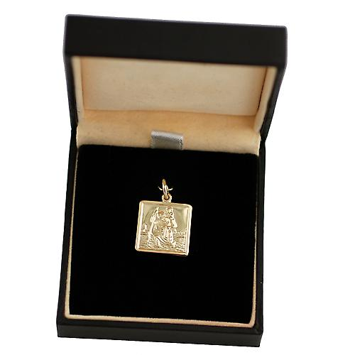 9ct Gold-Quadrat 17x17mm St Christopher