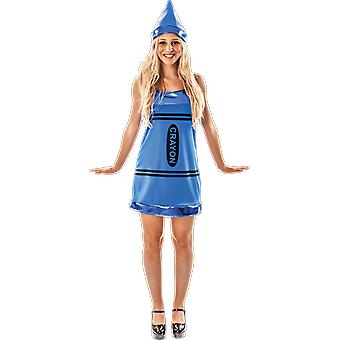 Womens Blue Crayon Novelty Fun Fancy Dress Costume