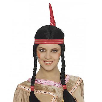 Womens Indian Braided Wig With Feather Fancy Dress Accessory