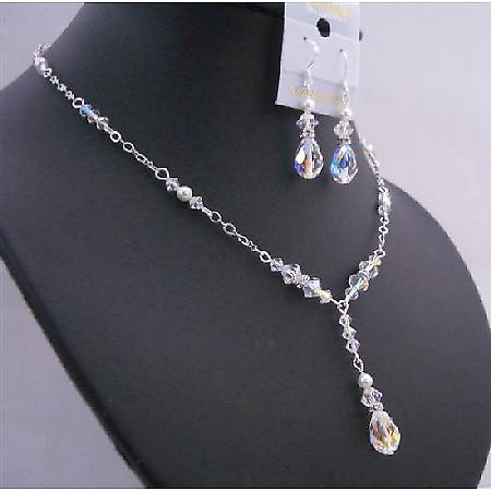 Custom Jewelry AB Crystals White Pearls Multifaceted AB Briollett Set