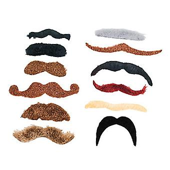 12 Large Synthetic Stick On Moustache for Parties