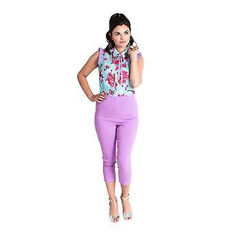 Hell Bunny Lavender Tina Capri Trousers M