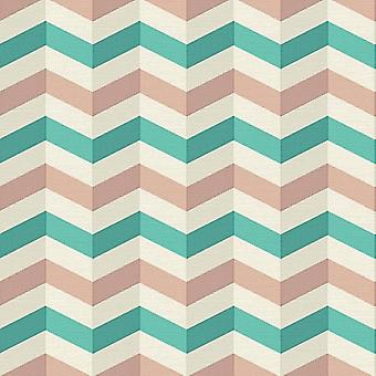 3D Effect Zig Zags Wallpaper Chevron Print Embossed Retro Green AS Creation