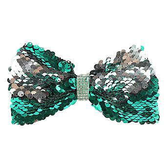 Molly & Rose Large Glitter Hair Bow Clip Green & Silver