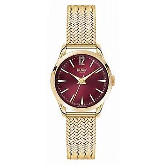 Henry London Holborn Gold Plated Mesh Deep Red Dial HL25-M-0058 Watch
